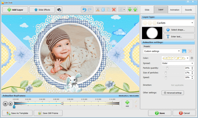 Decorate your baby slideshow with effects, transitions and clipart