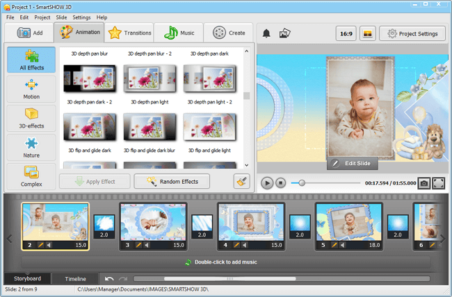 Browse through baby slideshow templates