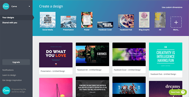 Canva is a web-based presentation making tool