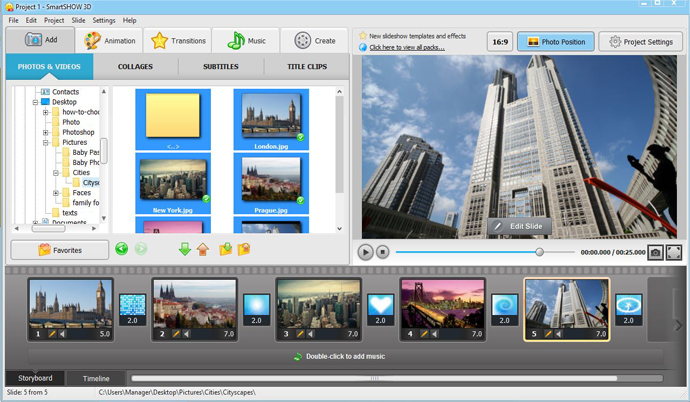 How to add photos to the slideshow